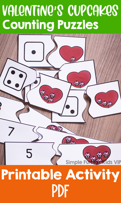 Practice counting up to 10 with numerals and up to 6 with dice with these cute printable self-correcting Valentine's Cupcakes Counting Puzzles! Perfect for toddlers and preschoolers who are just learning to count.