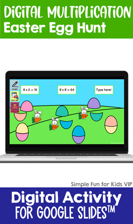 Practice multiplication tables 2-12 with a fun digital multiplication easter egg hunt. Perfect for third and fourth graders!
