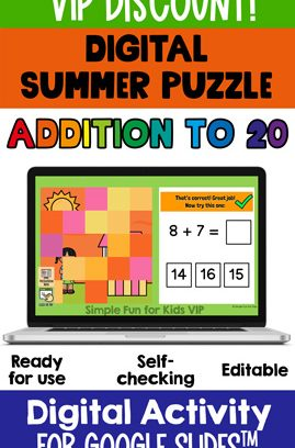 Addition to 20 Digital Summer Puzzle